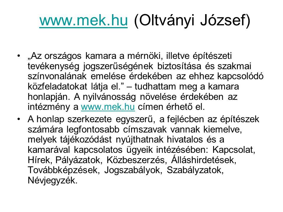www.mek.hu (Oltványi József)