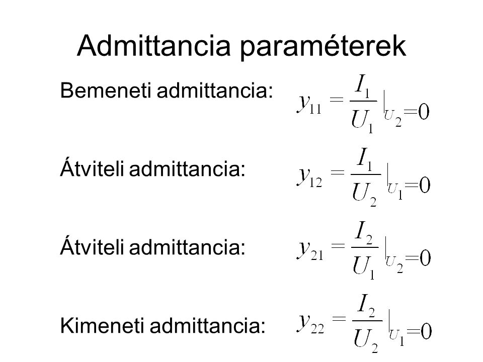 Admittancia paraméterek