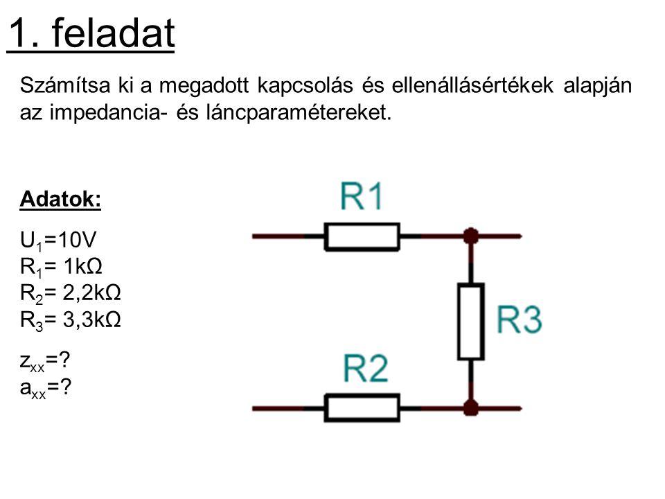 1. feladat Számítsa ki a megadott kapcsolás és ellenállásértékek alapján az impedancia- és láncparamétereket.