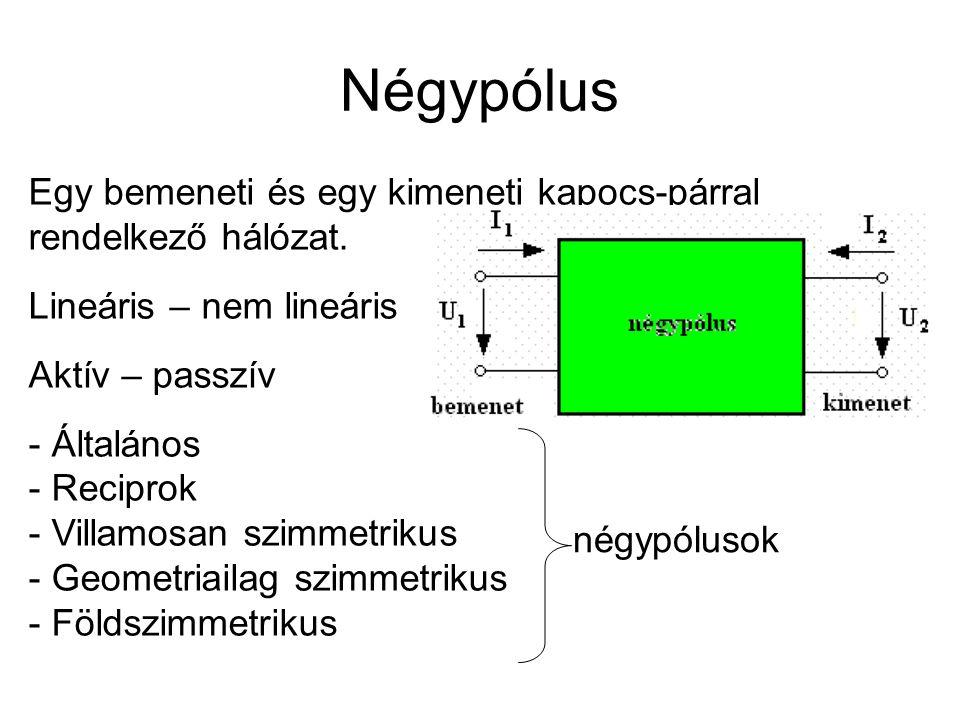 Négypólus Egy bemeneti és egy kimeneti kapocs-párral rendelkező hálózat. Lineáris – nem lineáris.