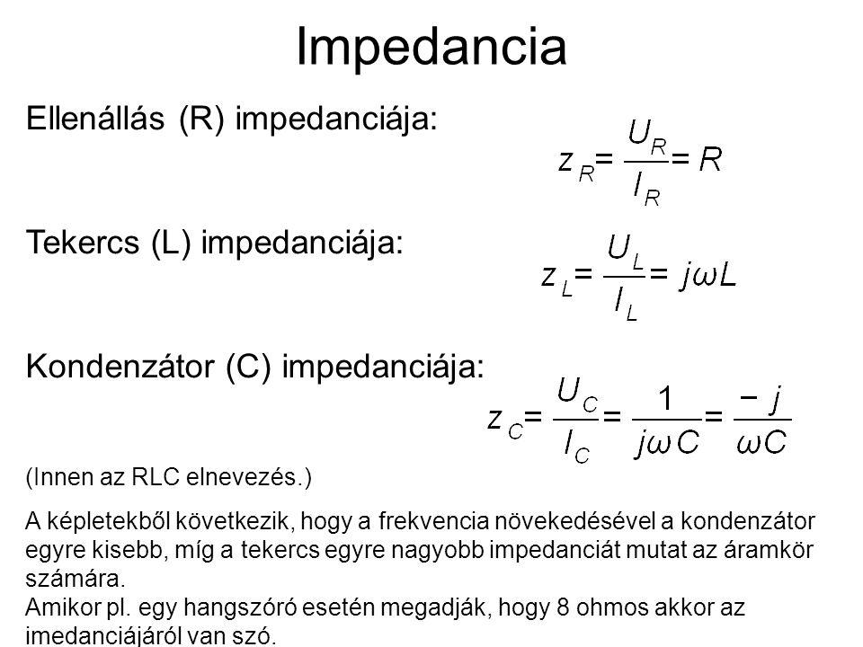 Impedancia Ellenállás (R) impedanciája: Tekercs (L) impedanciája: