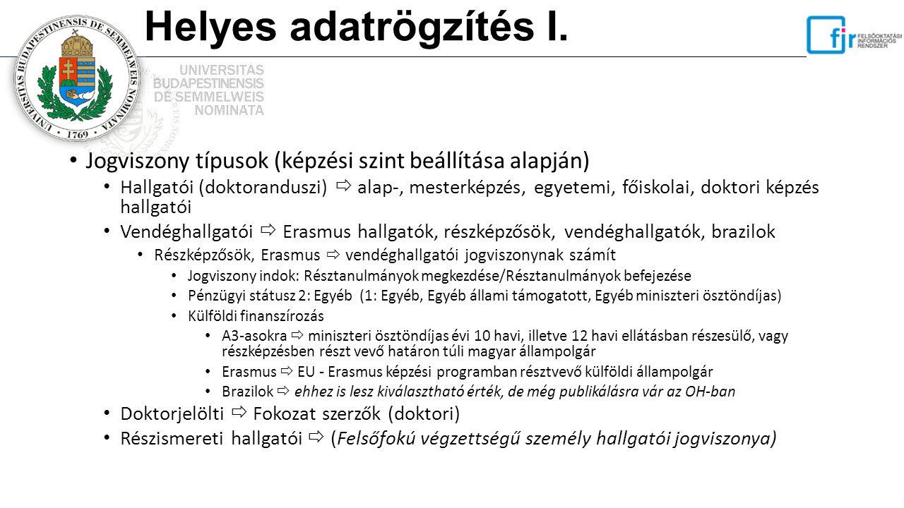 Helyes adatrögzítés I. Jogviszony típusok (képzési szint beállítása alapján)