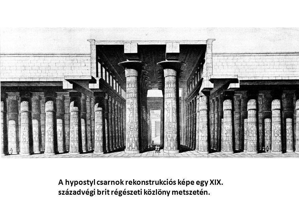 A hypostyl csarnok rekonstrukciós képe egy XIX
