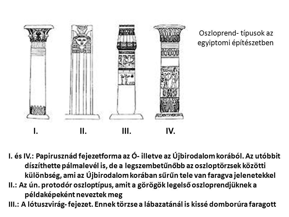 Oszloprend- típusok az egyiptomi építészetben