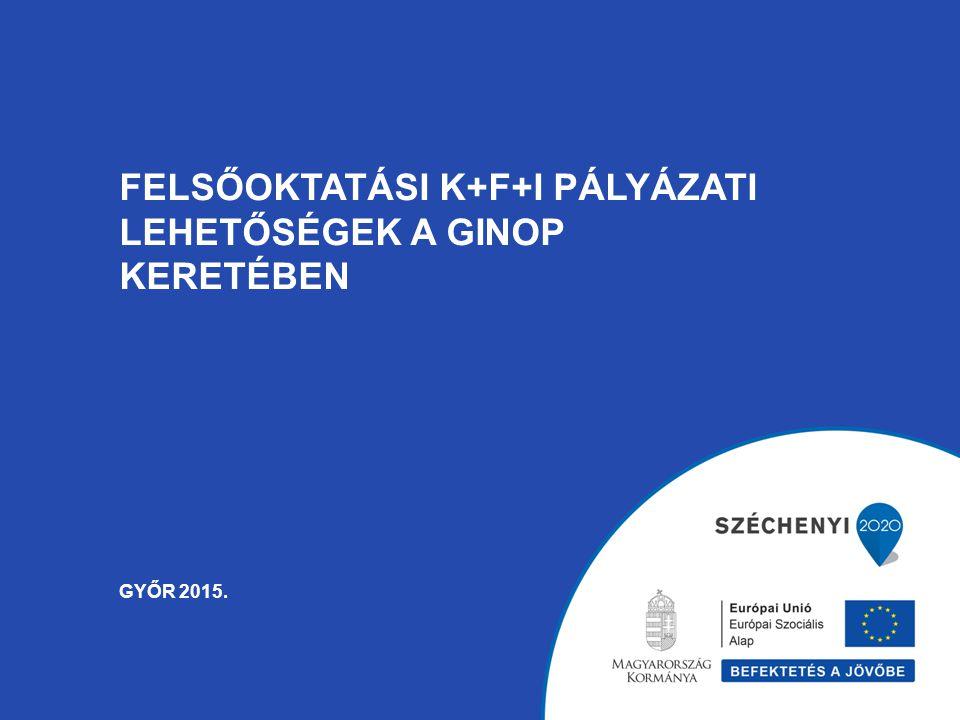 Felsőoktatási K+F+I pályázati lehetőségek a GINOP keretében Győr 2015.