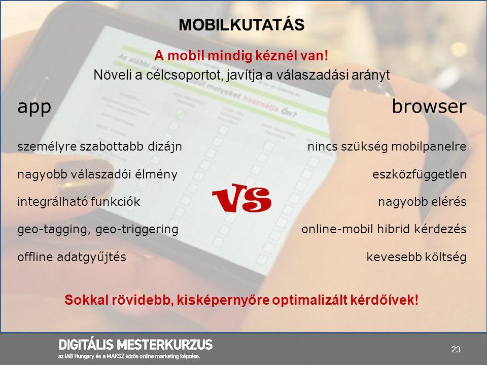 vs app browser Mobilkutatás A mobil mindig kéznél van!