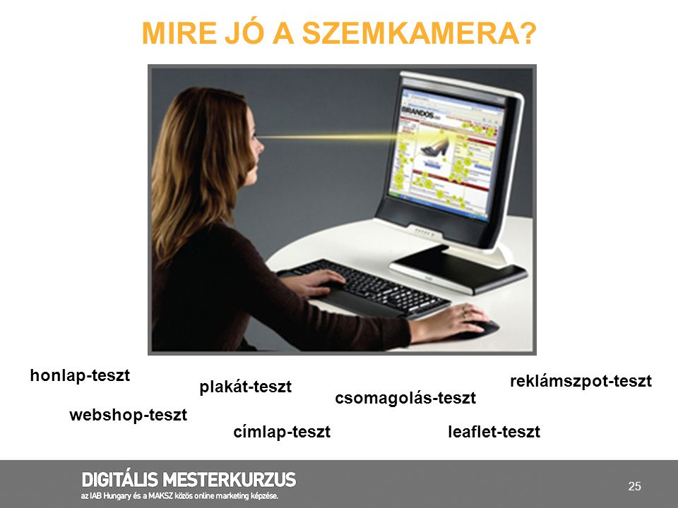 Mire jó a szemkamera honlap-teszt reklámszpot-teszt plakát-teszt