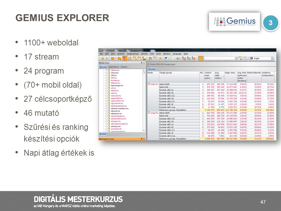 Gemius Explorer 1100+ weboldal 17 stream 24 program (70+ mobil oldal)