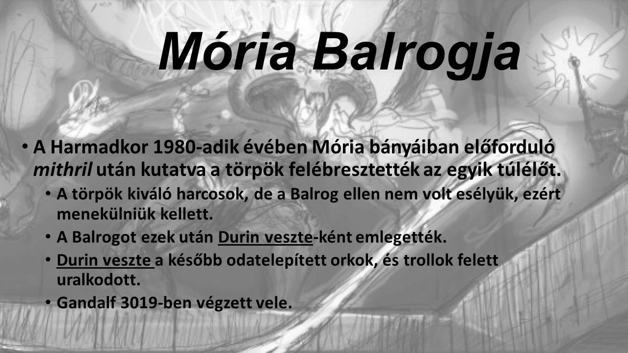 Mória Balrogja A Harmadkor 1980-adik évében Mória bányáiban előforduló mithril után kutatva a törpök felébresztették az egyik túlélőt.