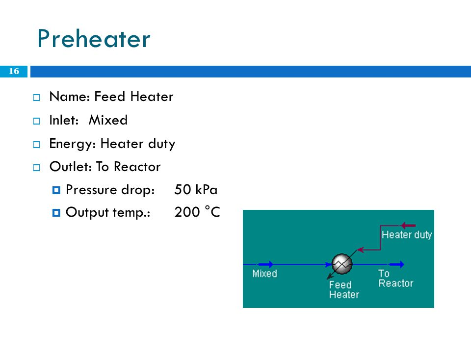 Preheater Name: Feed Heater Inlet: Mixed Energy: Heater duty