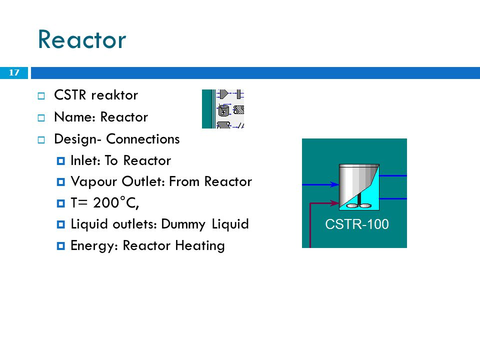 Reactor CSTR reaktor Name: Reactor Design- Connections