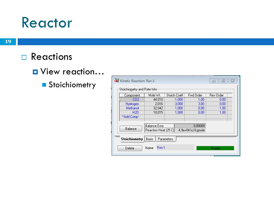 Reactor Reactions View reaction… Stoichiometry