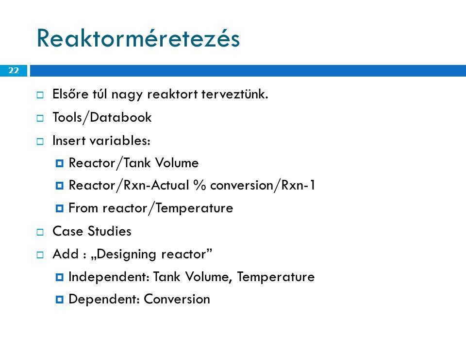 Reaktorméretezés Elsőre túl nagy reaktort terveztünk. Tools/Databook