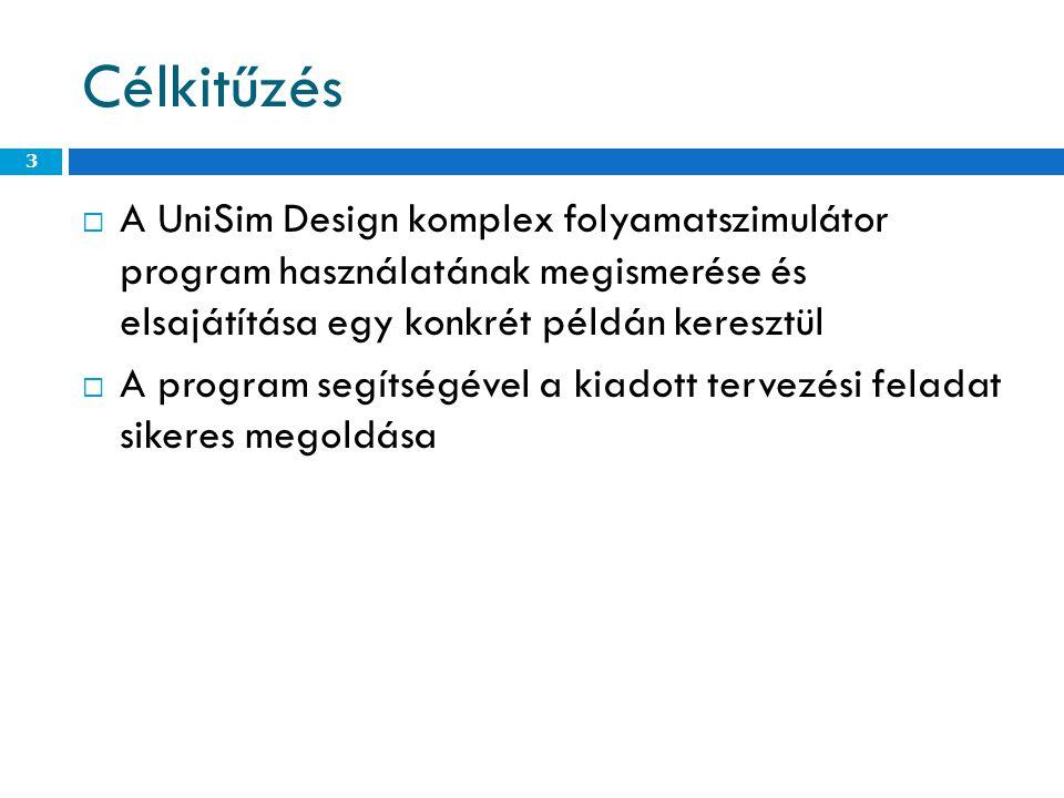 Célkitűzés A UniSim Design komplex folyamatszimulátor program használatának megismerése és elsajátítása egy konkrét példán keresztül.