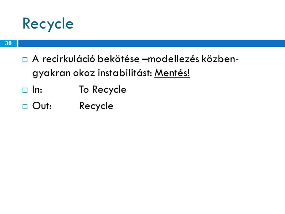 Recycle A recirkuláció bekötése –modellezés közben- gyakran okoz instabilitást: Mentés! In: To Recycle.
