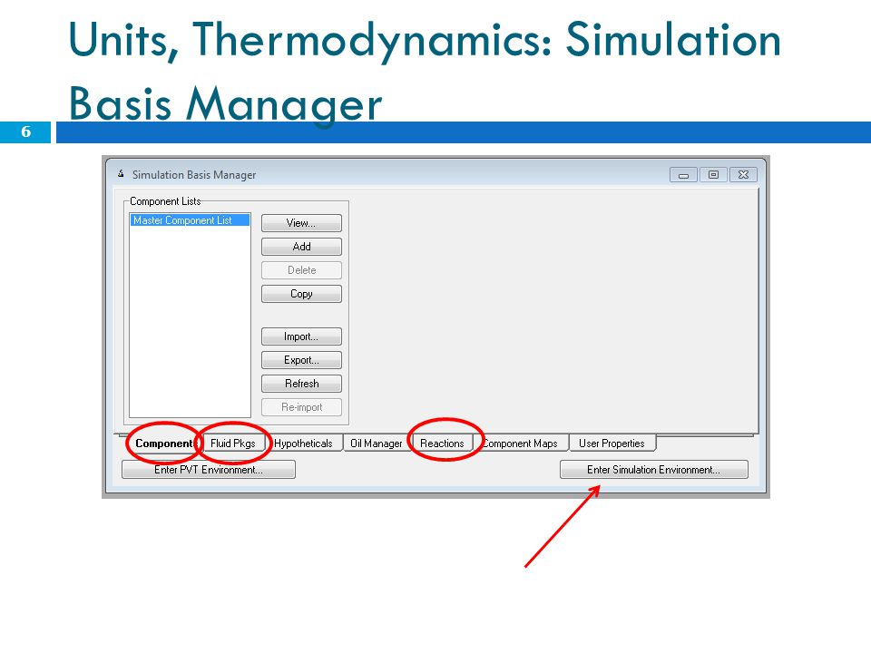 Units, Thermodynamics: Simulation Basis Manager