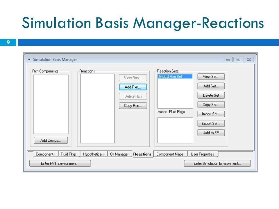 Simulation Basis Manager-Reactions