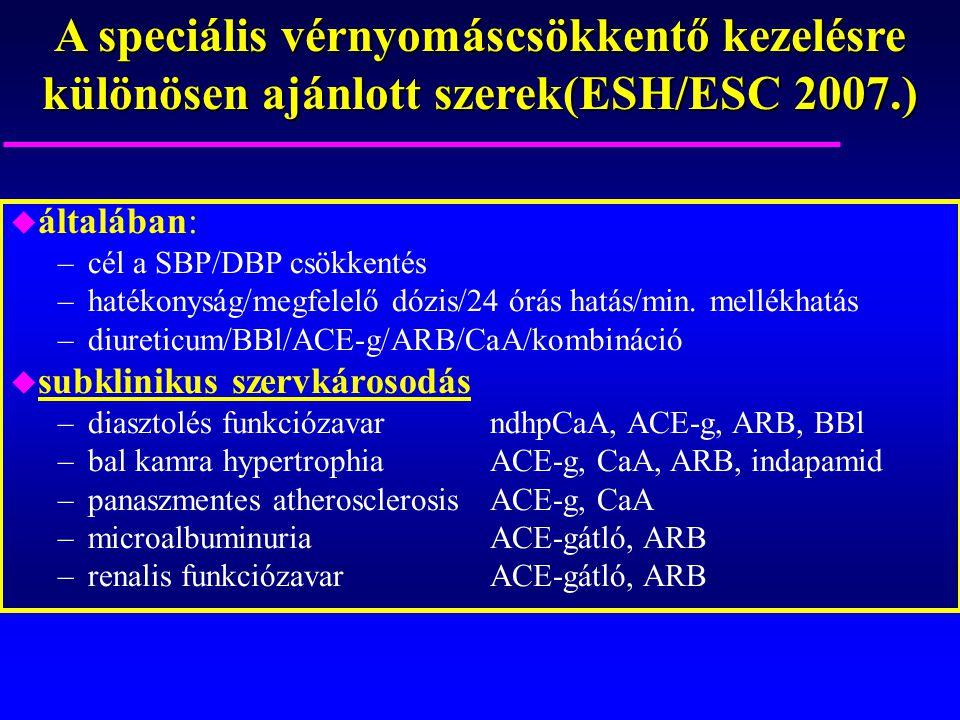 A speciális vérnyomáscsökkentő kezelésre különösen ajánlott szerek(ESH/ESC 2007.)