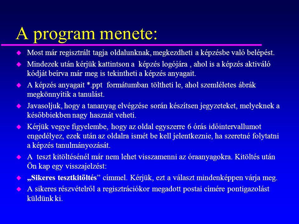 A program menete: Most már regisztrált tagja oldalunknak, megkezdheti a képzésbe való belépést.