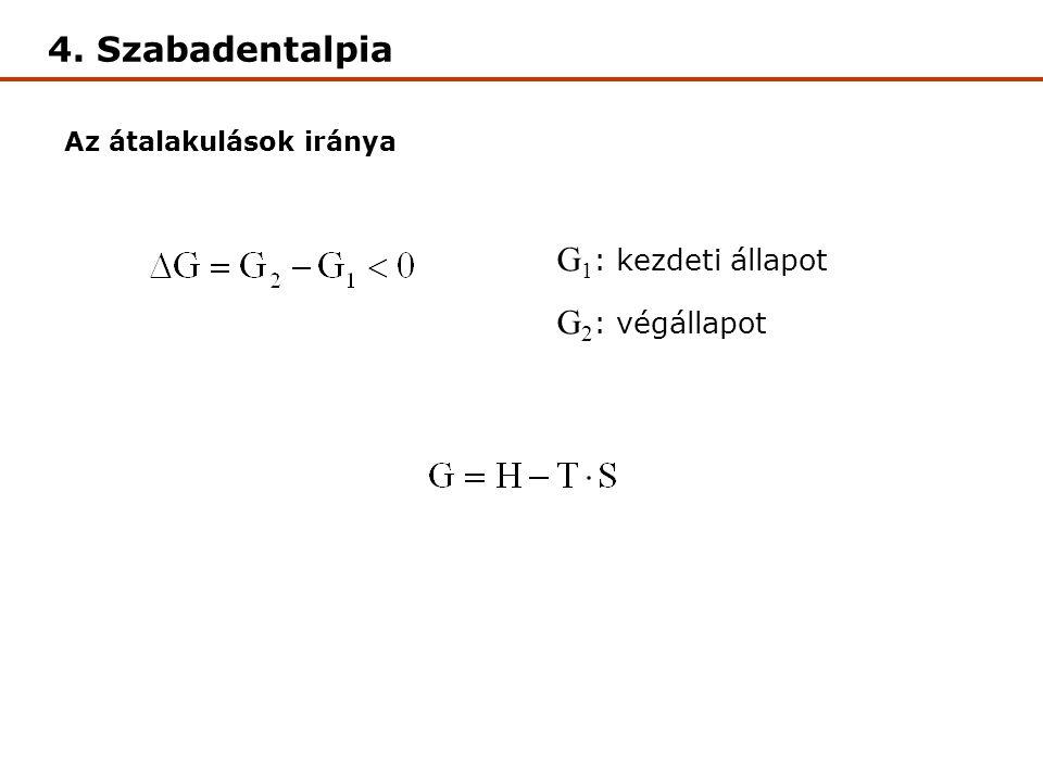 4. Szabadentalpia G1: kezdeti állapot G2: végállapot