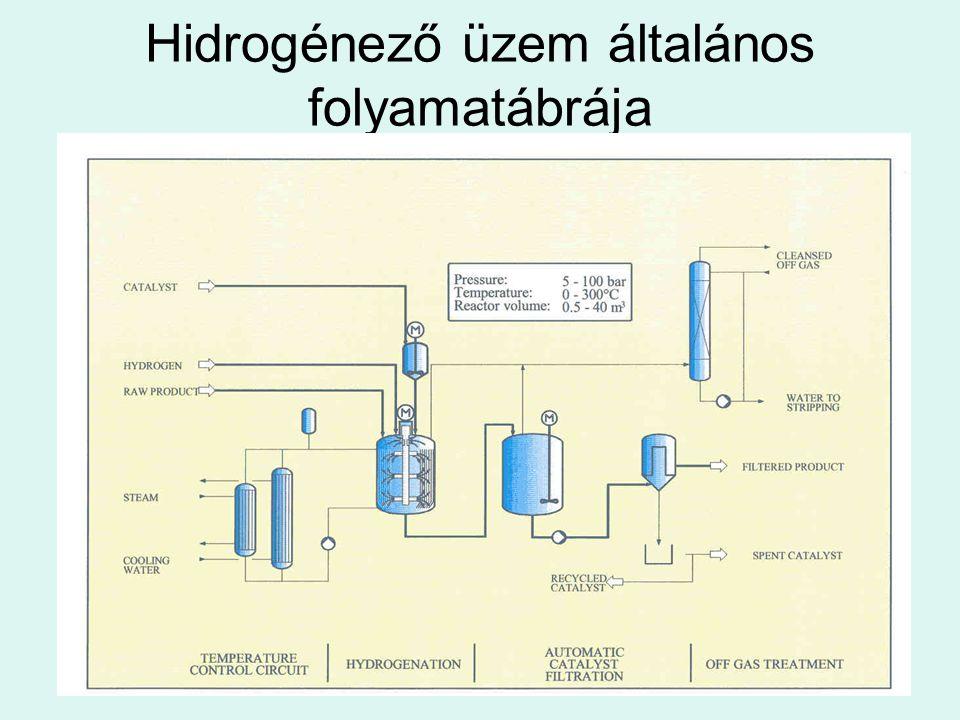 Hidrogénező üzem általános folyamatábrája