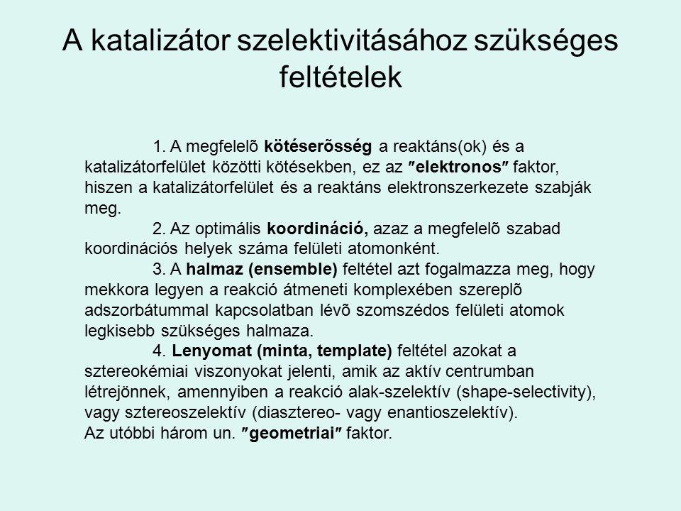A katalizátor szelektivitásához szükséges feltételek