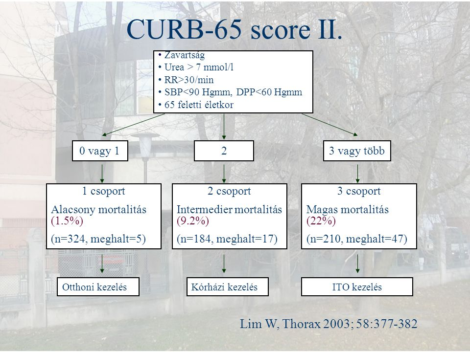CURB-65 score II. Lim W, Thorax 2003; 58:377-382 0 vagy 1 2