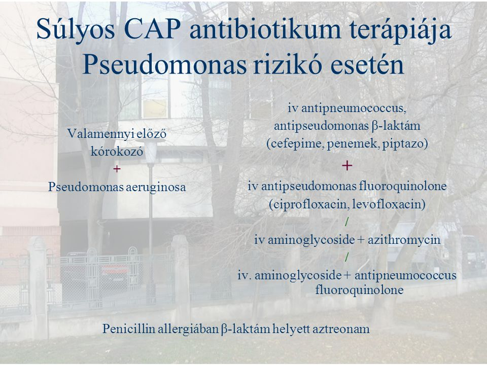 Súlyos CAP antibiotikum terápiája Pseudomonas rizikó esetén