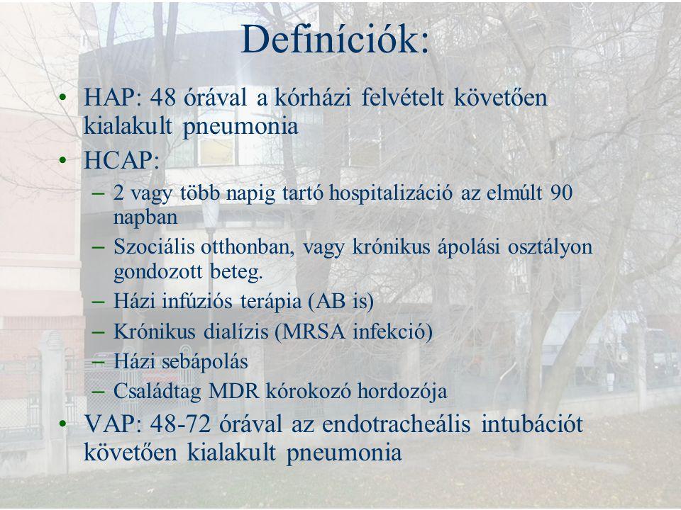 Definíciók: HAP: 48 órával a kórházi felvételt követően kialakult pneumonia. HCAP: 2 vagy több napig tartó hospitalizáció az elmúlt 90 napban.