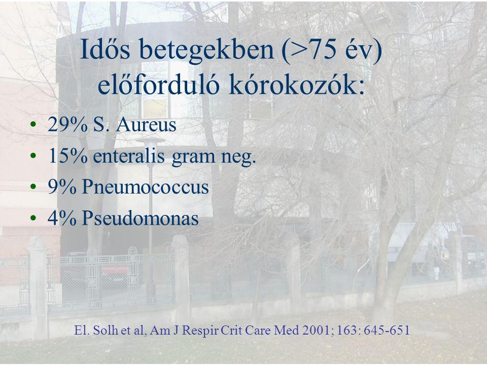 Idős betegekben (>75 év) előforduló kórokozók: