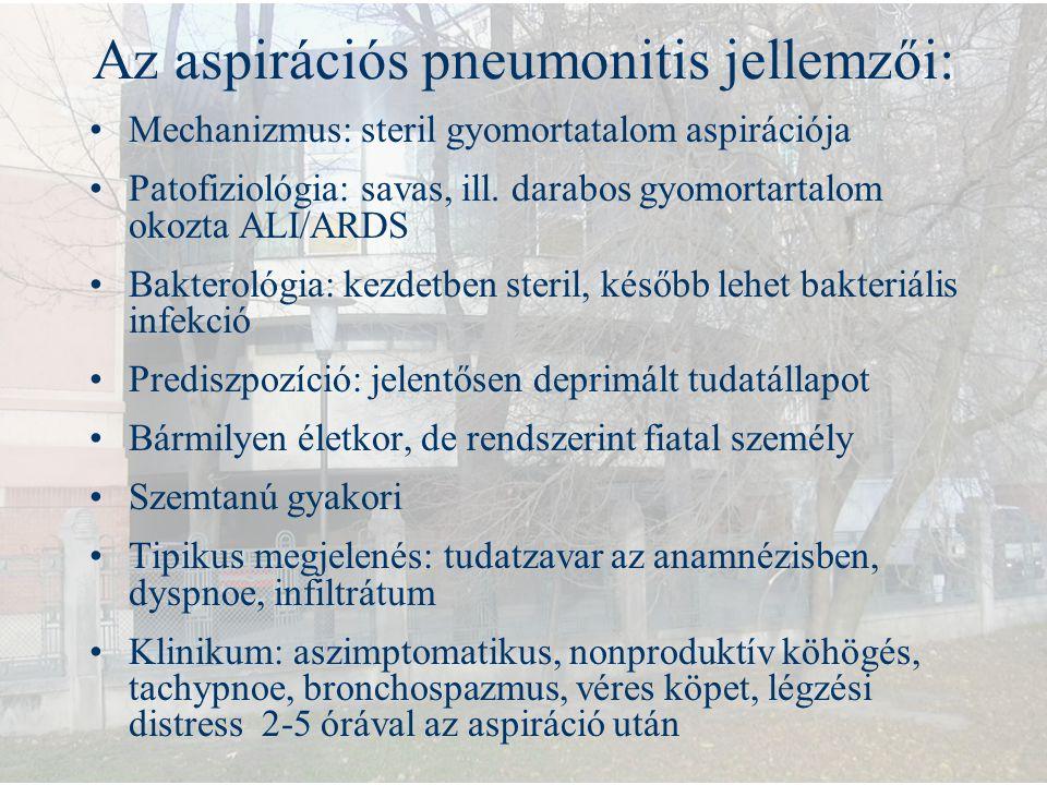 Az aspirációs pneumonitis jellemzői: