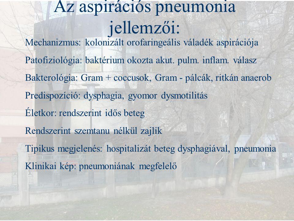 Az aspirációs pneumonia jellemzői: