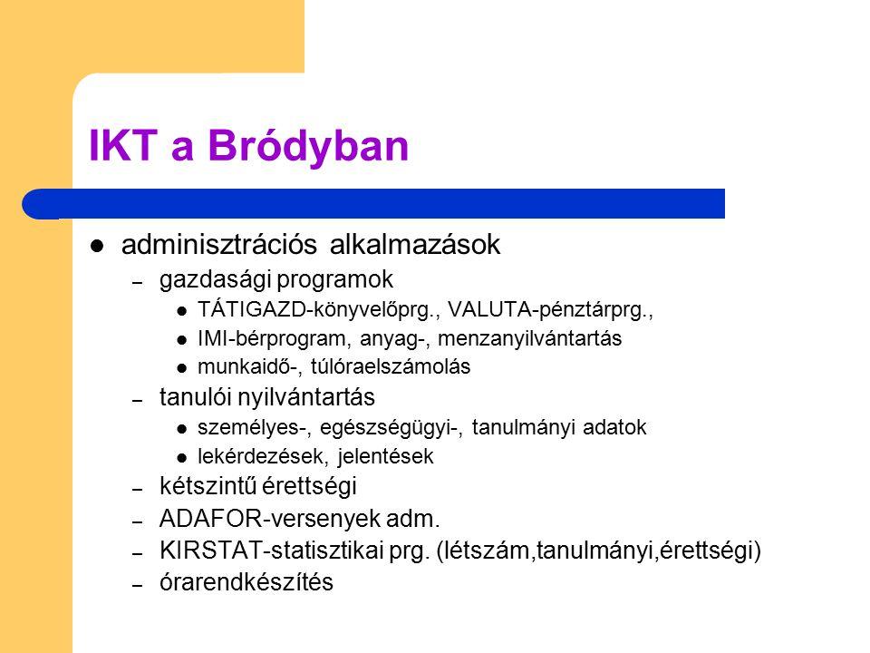 IKT a Bródyban adminisztrációs alkalmazások gazdasági programok