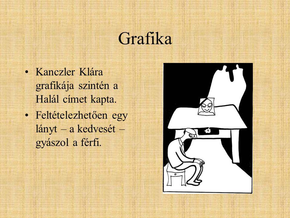 Grafika Kanczler Klára grafikája szintén a Halál címet kapta.