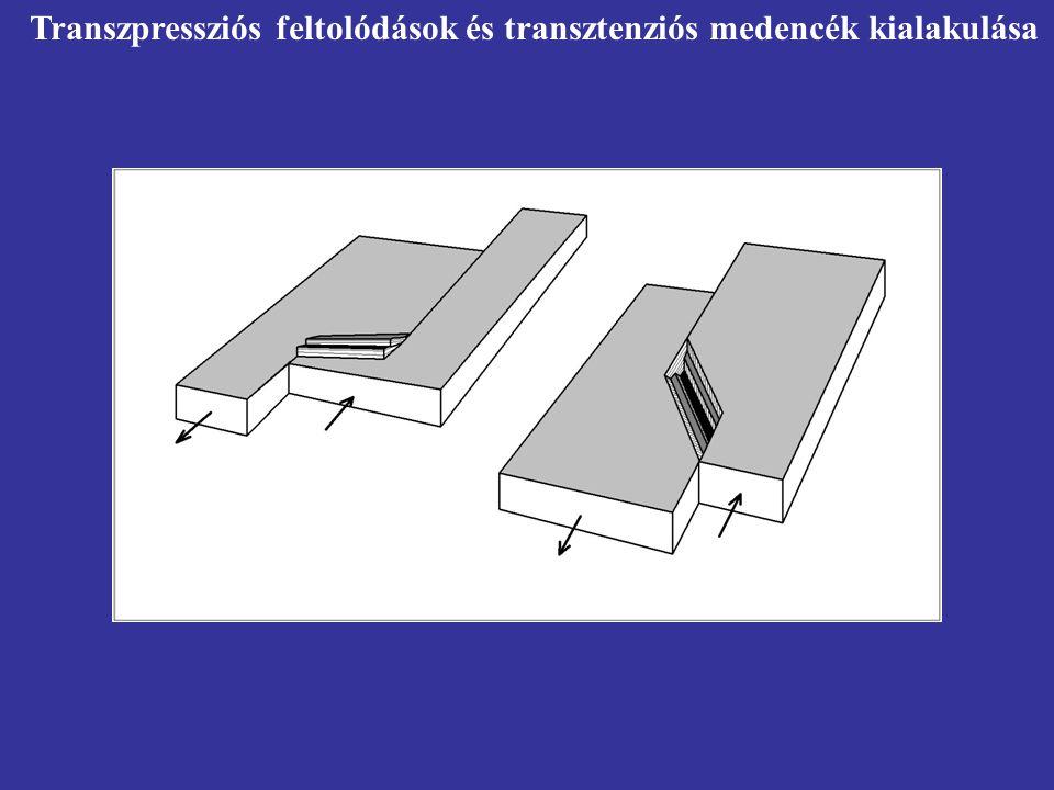 Transzpressziós feltolódások és transztenziós medencék kialakulása