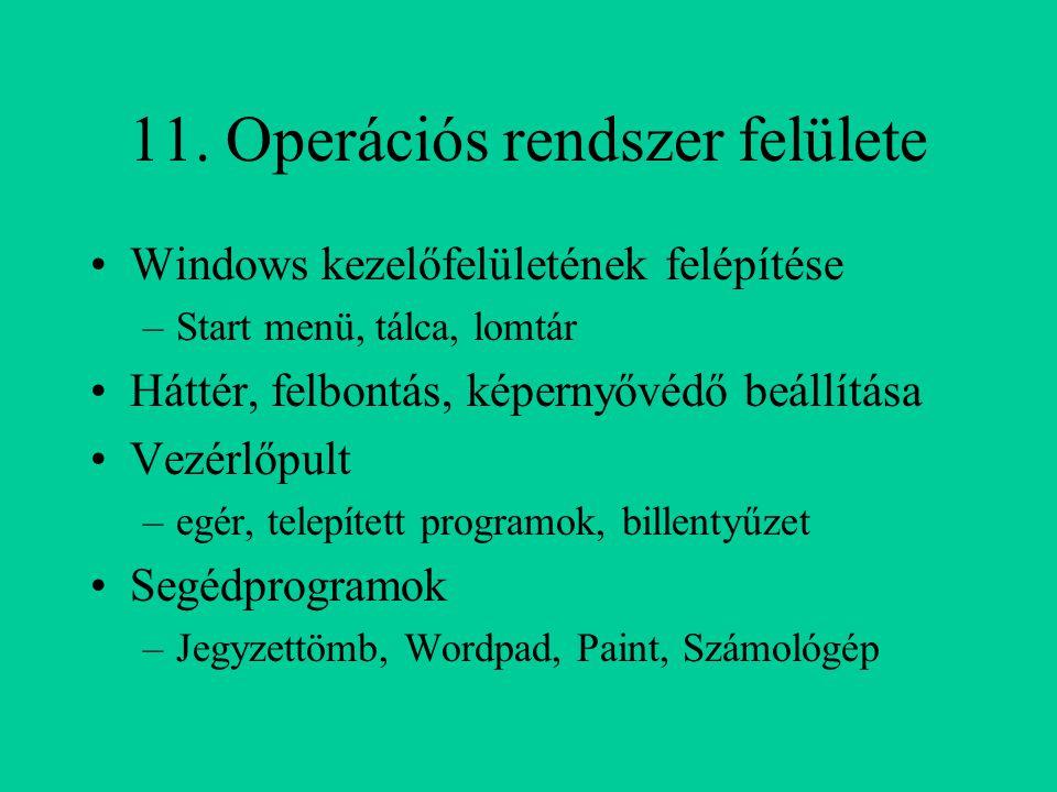 11. Operációs rendszer felülete