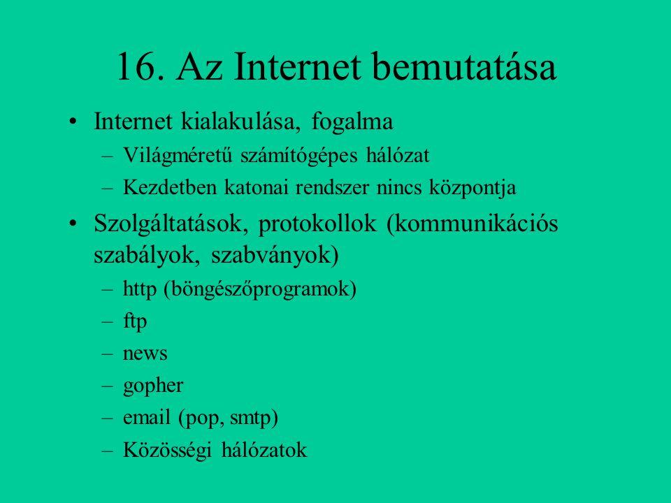 16. Az Internet bemutatása