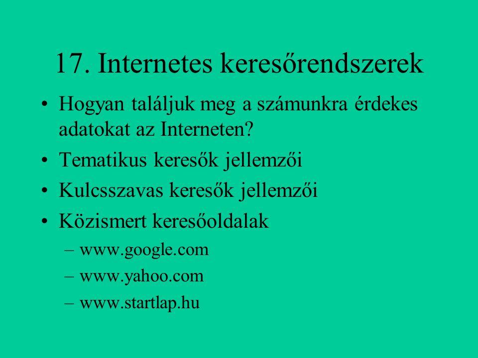 17. Internetes keresőrendszerek