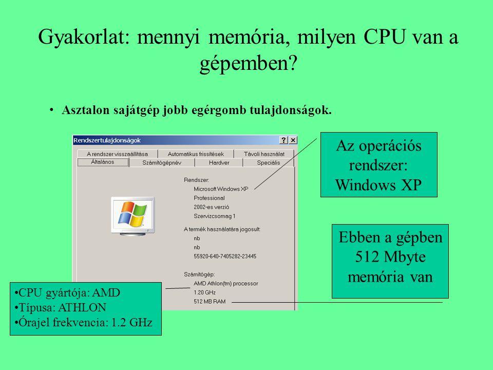 Gyakorlat: mennyi memória, milyen CPU van a gépemben