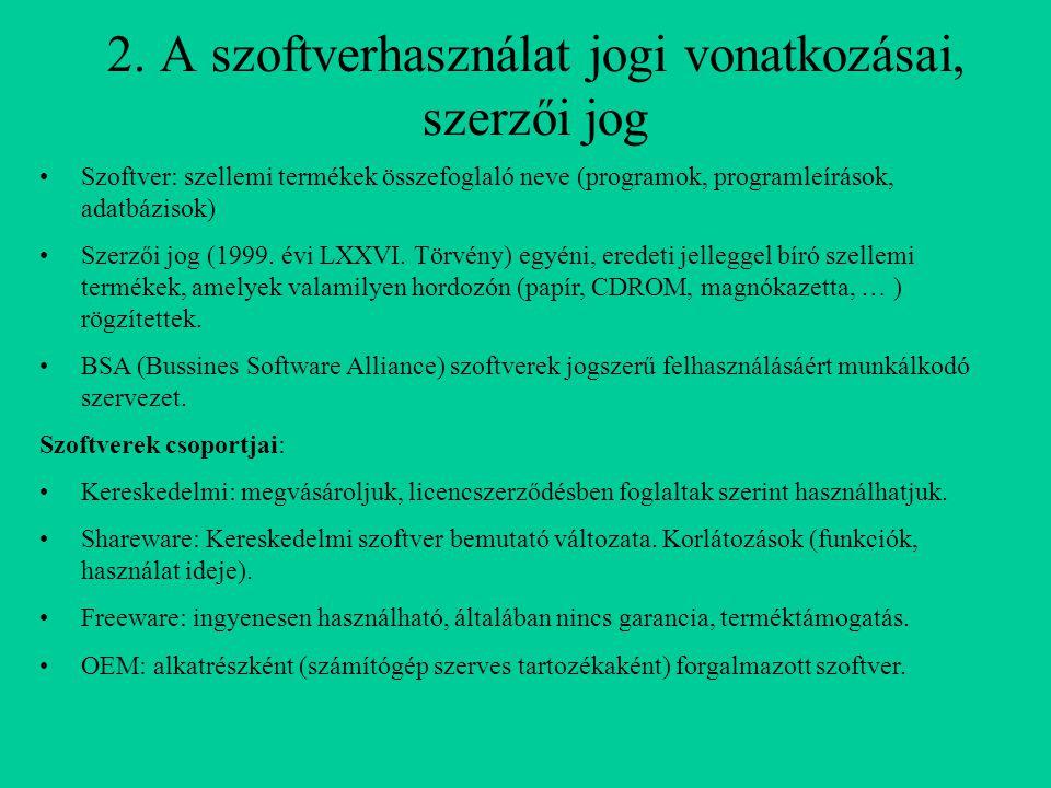 2. A szoftverhasználat jogi vonatkozásai, szerzői jog