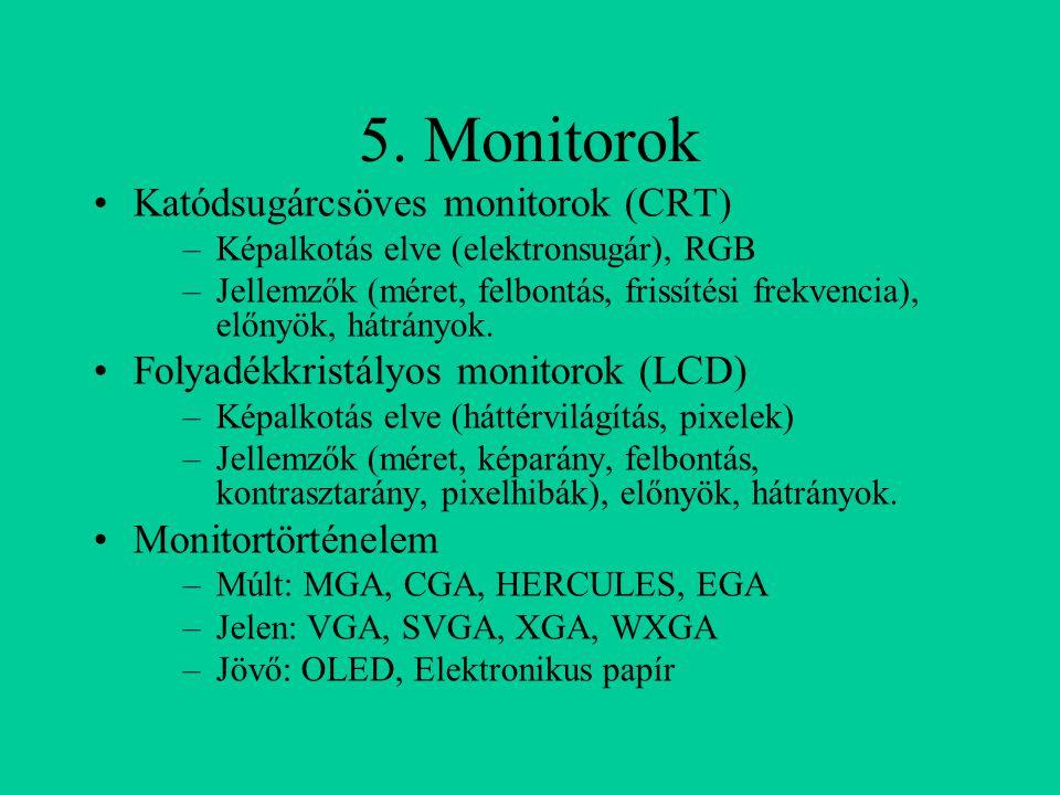 5. Monitorok Katódsugárcsöves monitorok (CRT)