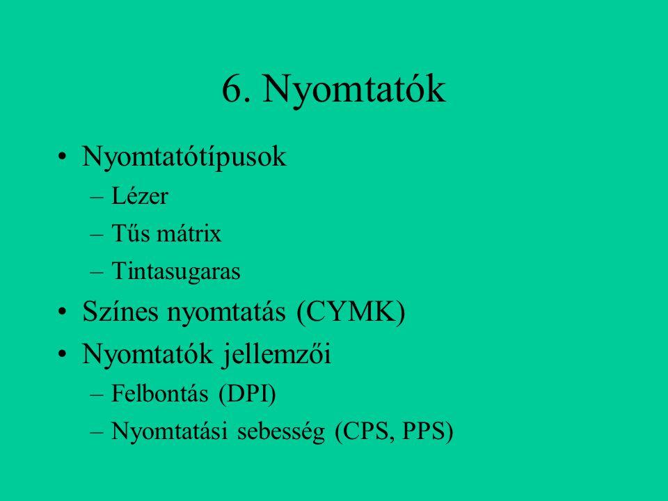 6. Nyomtatók Nyomtatótípusok Színes nyomtatás (CYMK)