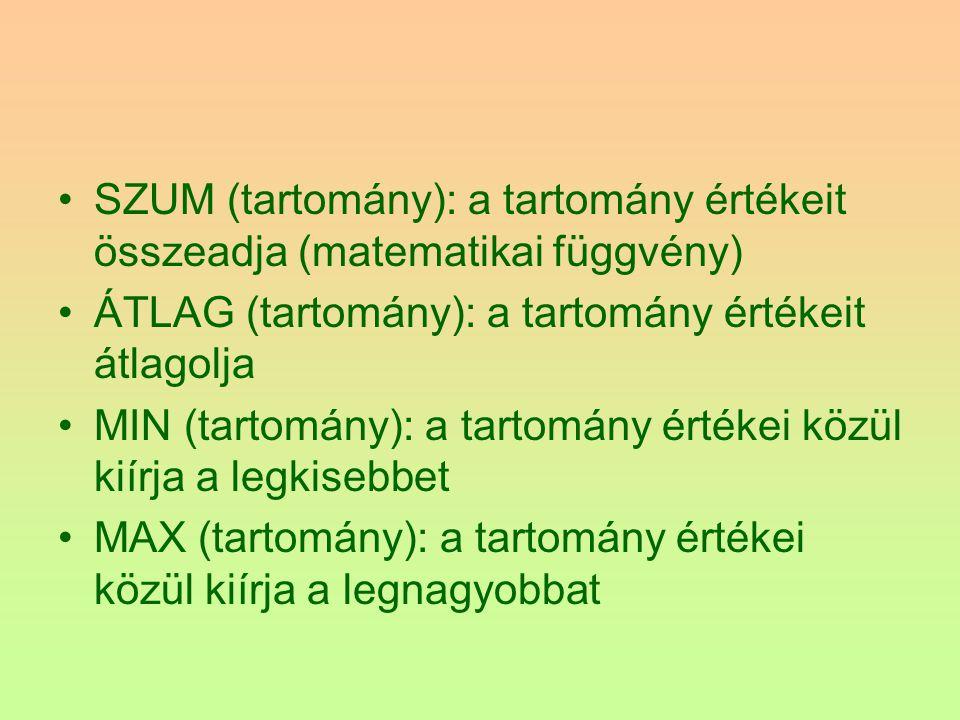 SZUM (tartomány): a tartomány értékeit összeadja (matematikai függvény)
