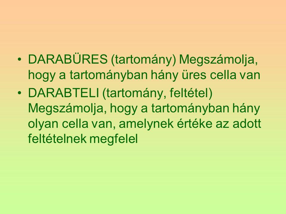 DARABÜRES (tartomány) Megszámolja, hogy a tartományban hány üres cella van