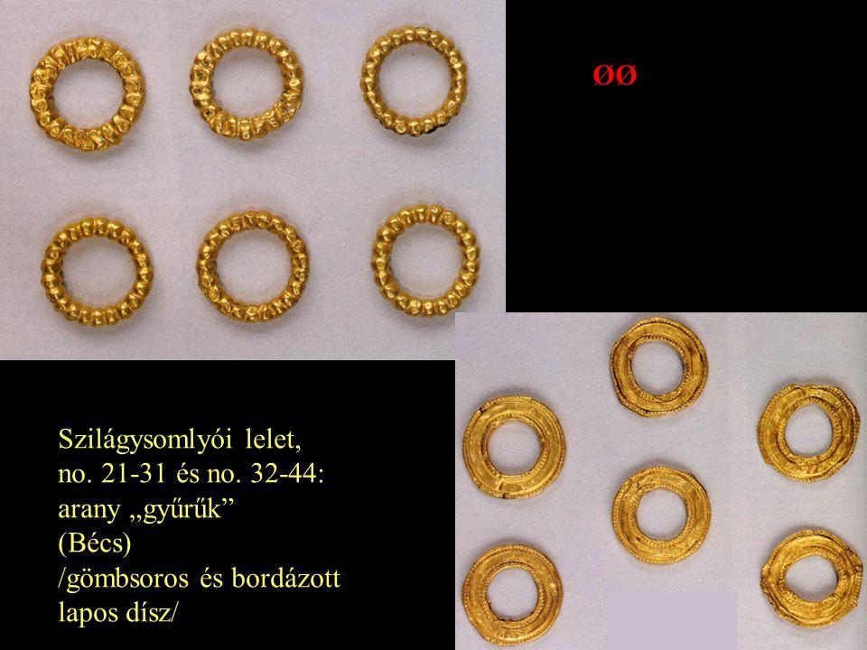 """ØØ Szilágysomlyói lelet, no. 21-31 és no. 32-44: arany """"gyűrűk (Bécs) /gömbsoros és bordázott."""