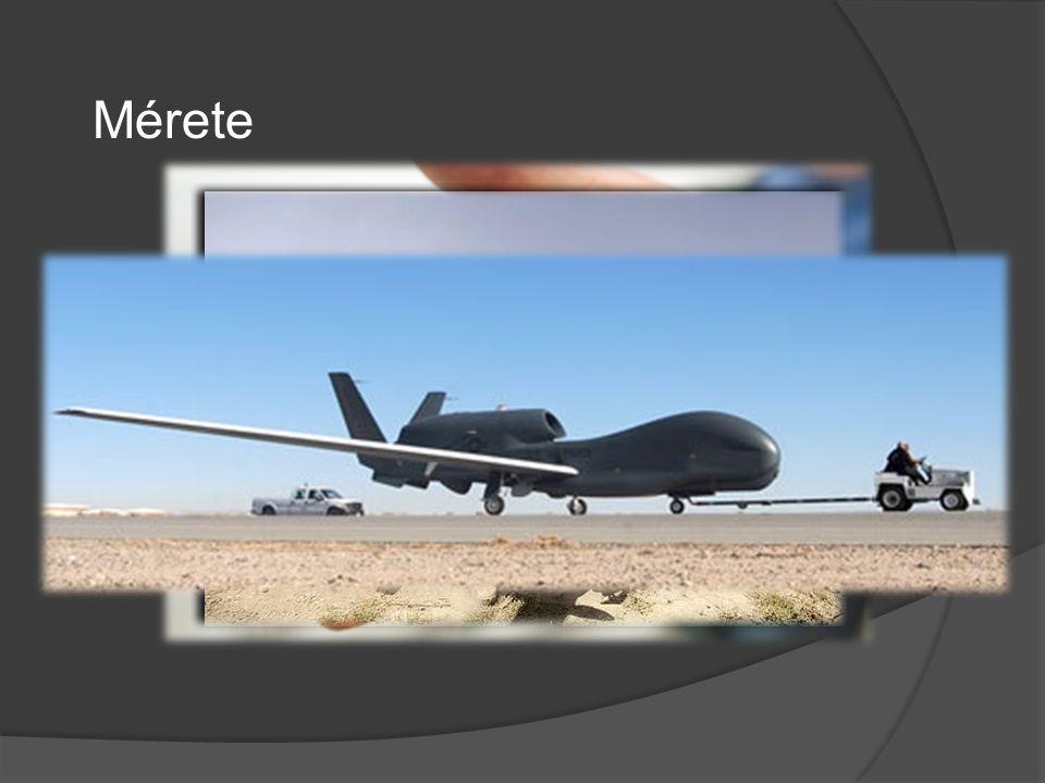 Mérete Méret: néhány kg-tól (SOFAR) tíz tonnásig (RQ-4 Global Hawk), de várható néhány grammos drón is.