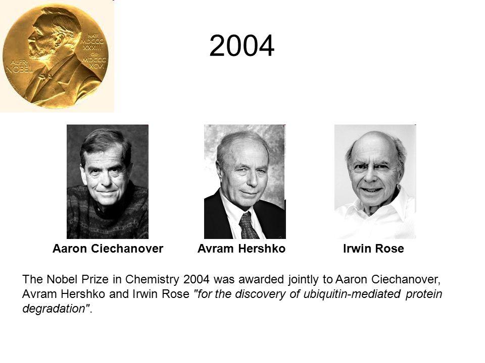 2004 Aaron Ciechanover Avram Hershko Irwin Rose