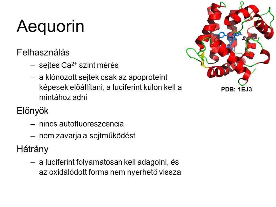 Aequorin Felhasználás Előnyök Hátrány sejtes Ca2+ szint mérés