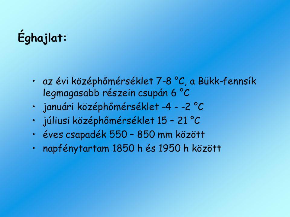 Éghajlat: az évi középhőmérséklet 7-8 °C, a Bükk-fennsík legmagasabb részein csupán 6 °C. januári középhőmérséklet -4 - -2 °C.