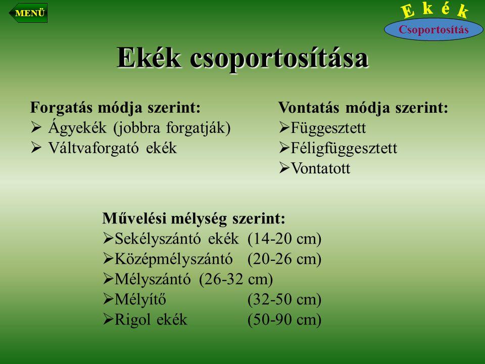 Ekék csoportosítása Vontatás módja szerint: Forgatás módja szerint: